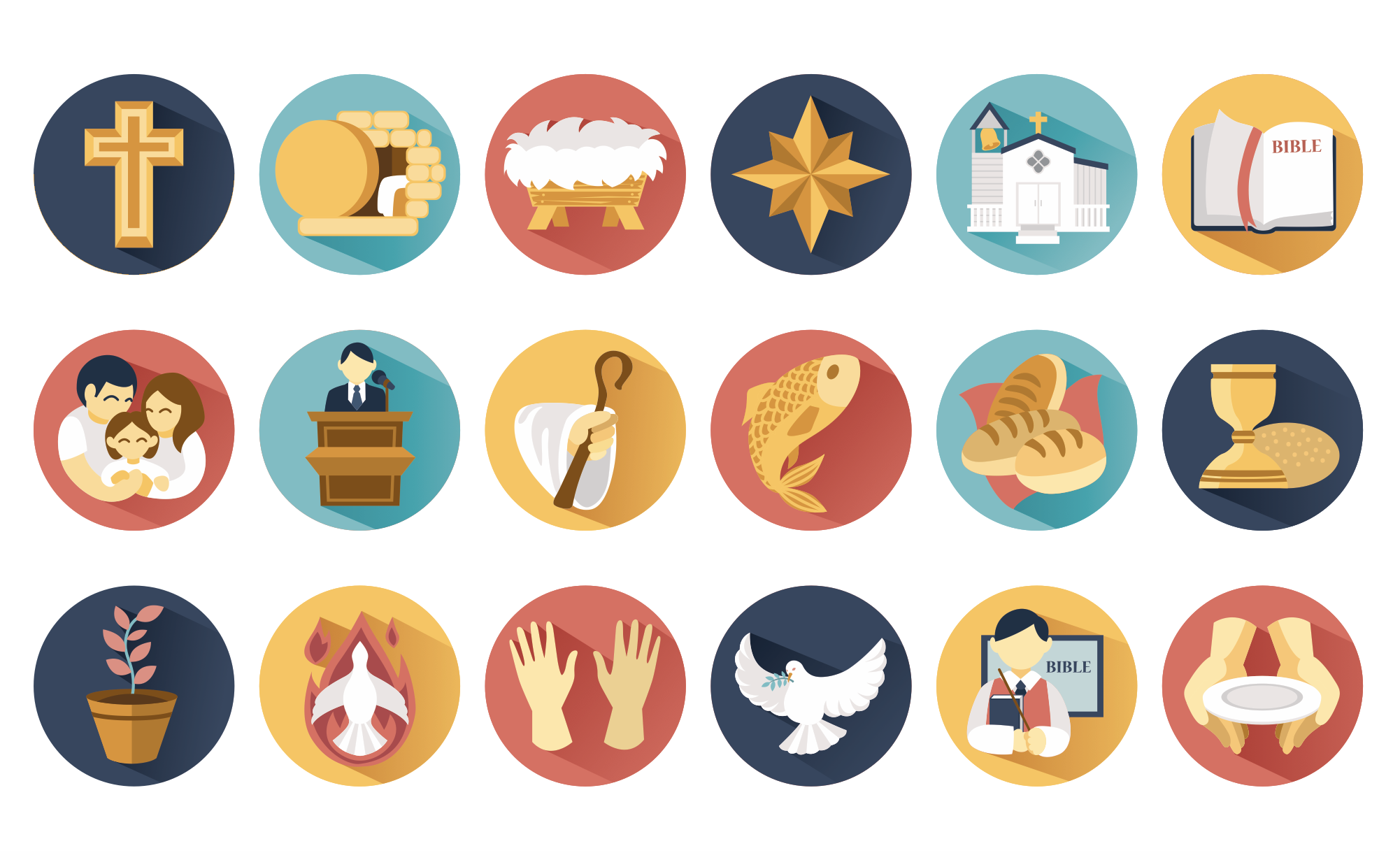18 Free Icons With Christian Symbols Church Graphics Vector