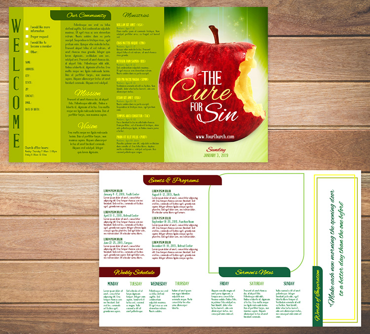 Church bulletin template 7 - The Cure for Sin