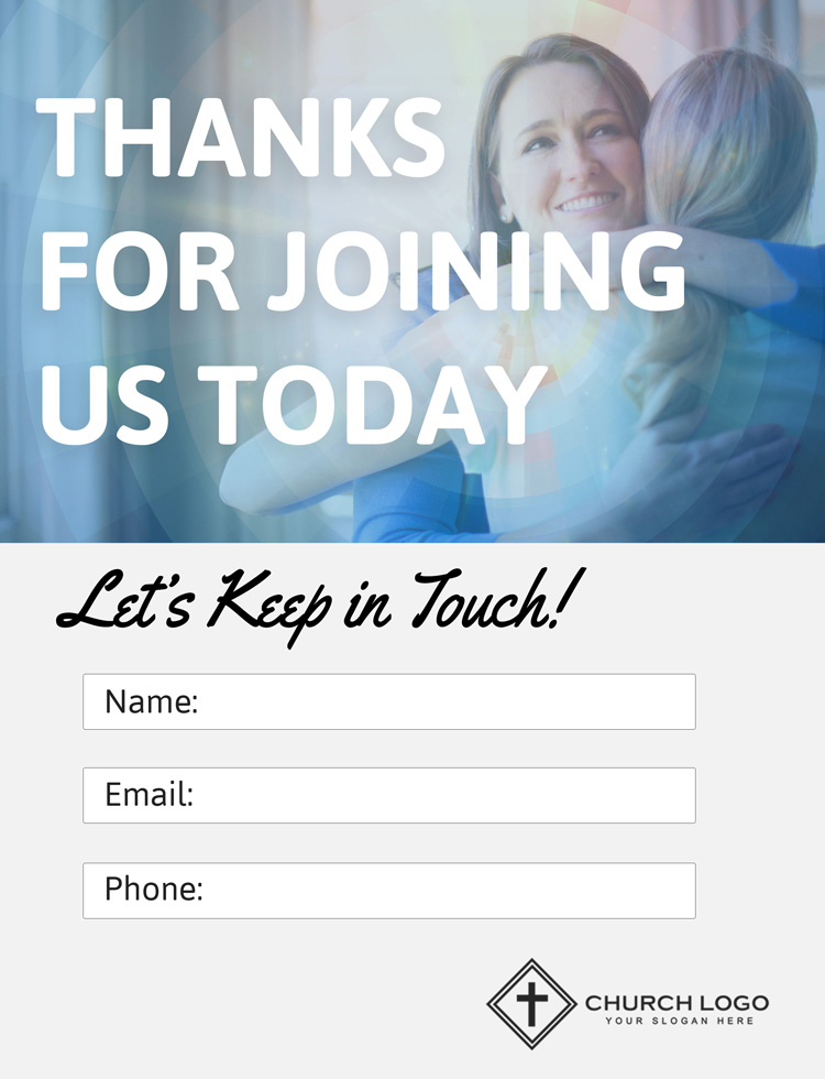 "Free 'Thank You For Joining Us"" Church Connection Card"