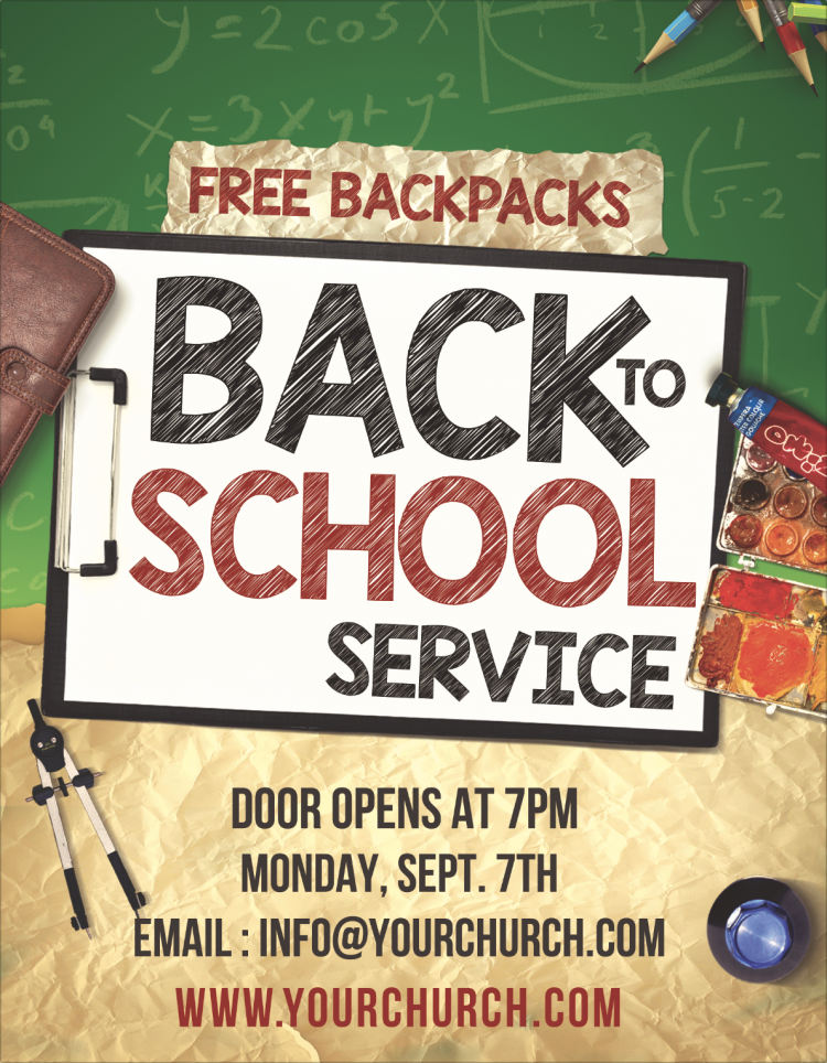 Free Church Flyer - Back to School Service