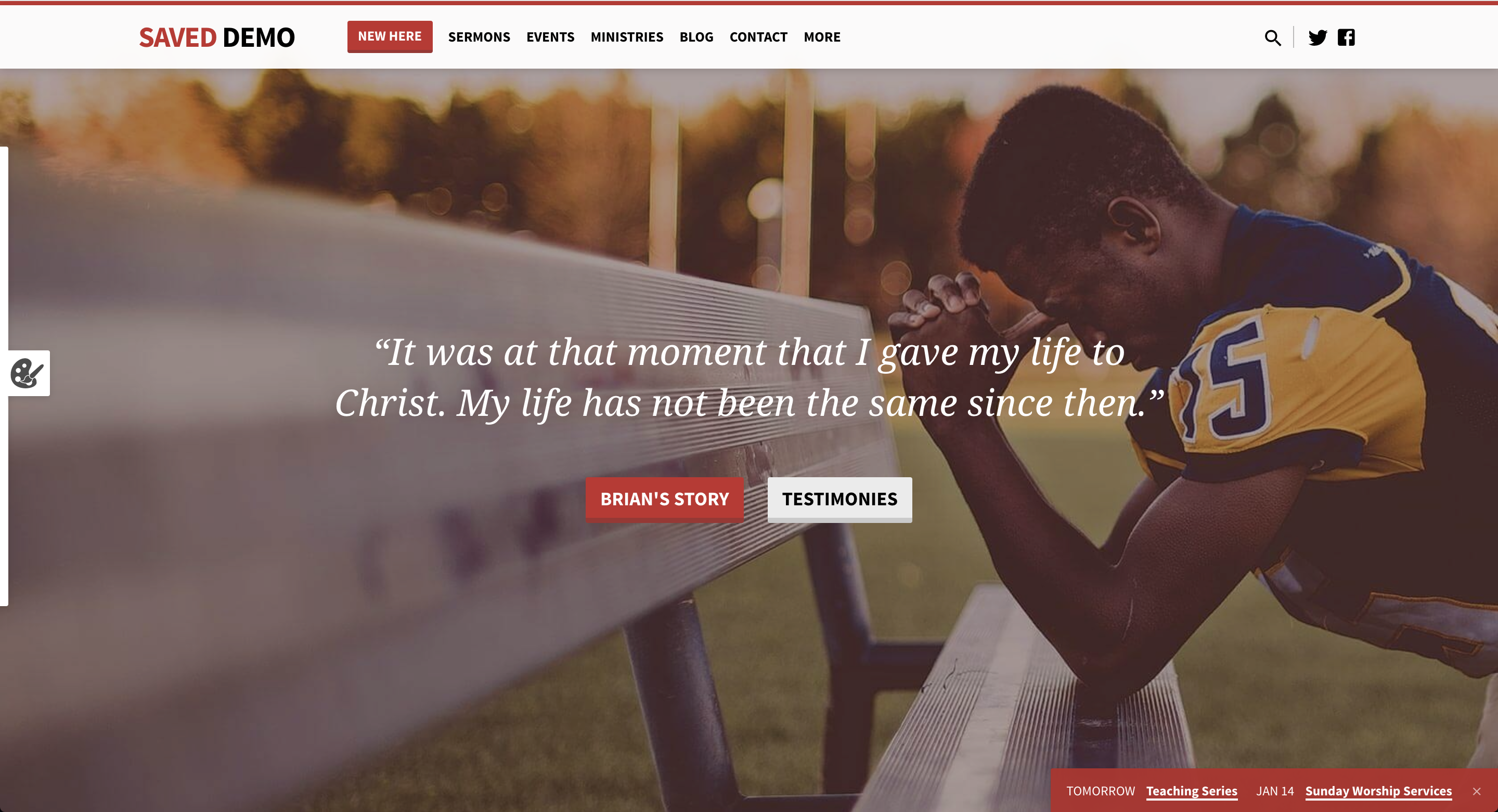 Screenshot of the Saved church WordPress theme