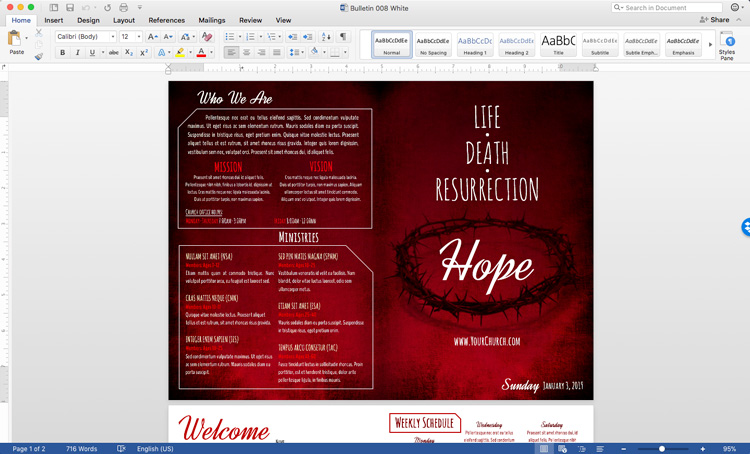 Church bulletin template in Microsoft Word