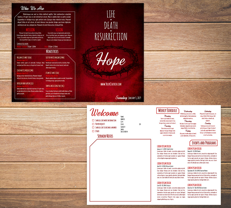 Church bulletin template 8 - Life, Death, Resurrection, Hope
