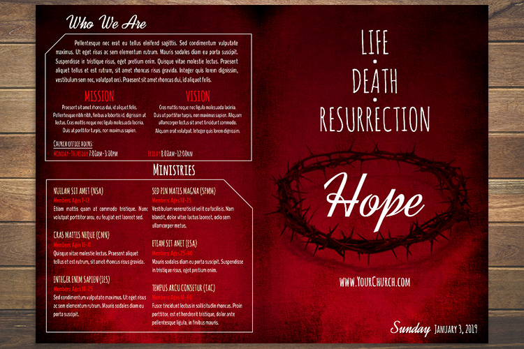 Example of front and back of church bulletin template
