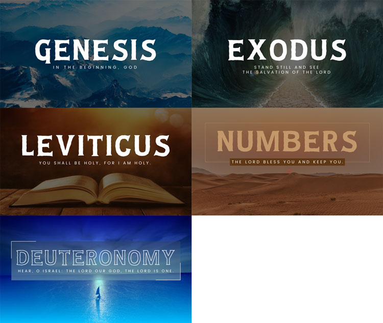 Genesis, Exodus, Leviticus, Numbers, and Deuteronomy Sermon Graphics