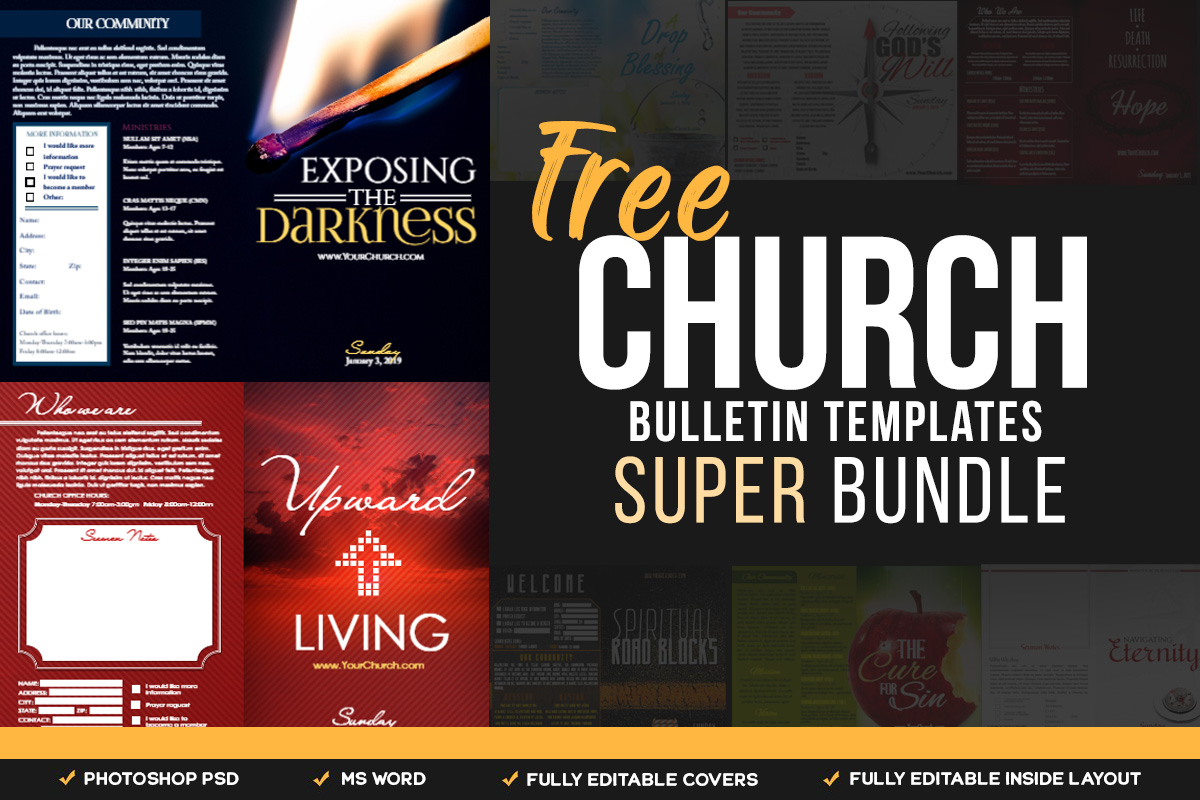 Free Church Bulletin Templates - Customize in Microsoft Word Intended For Church Program Templates Word