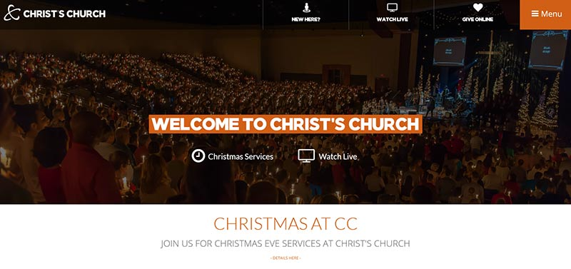 modern church website