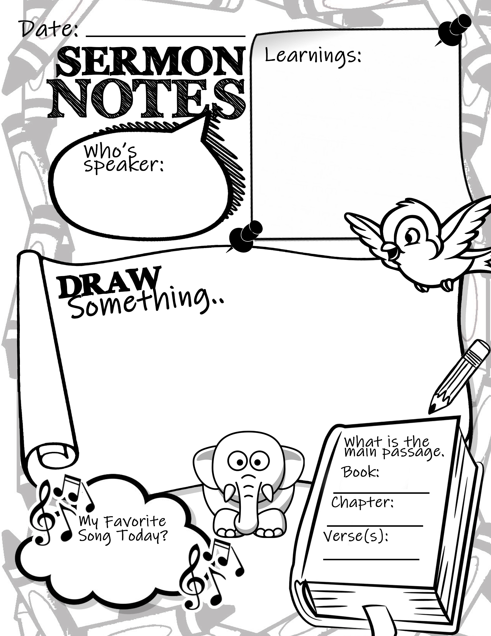 note sheets for kids